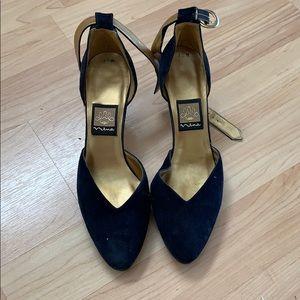 Nina Blue Velvet Strapped Heels